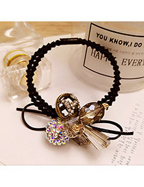 Elegant Black Round Ball&diamond Decorated Double Layer Hair Band