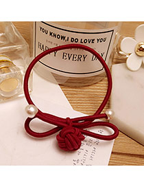 Fashion Claret Red Knot&pearls Decorated Pure Color Simple Hair Band