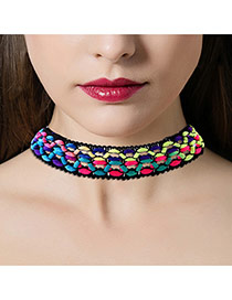 Fashion Multi-color Color Matching Decorated Hollow Out Simple Choker