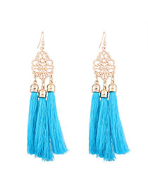 Fashion Blue Long Tassel Pendant Decorated Hollow Out Flower Design Necklace