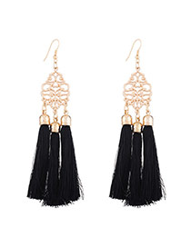 Fashion Black Long Tassel Pendant Decorated Hollow Out Flower Design Necklace
