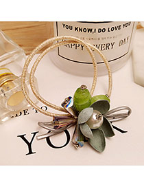 Elegant Green Flower Decorated Double Layer Simple Hair Band