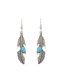 Fashion Silver Color Oval Shape Diamond Decorated Feather Shape Simple Earrings