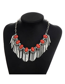 Fashion Red Vertical Shape Pendant Decorated Color Matching Necklace