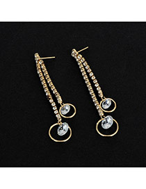 Fashion Gold Color Diamond&circle Pendant Decorated Asymmetric Earrings