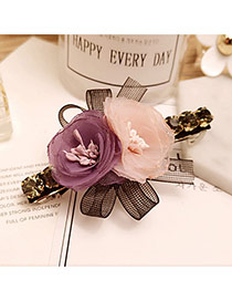 Sweet Purple+pink Flowers Decorated Color Matching Simple Hair Pin