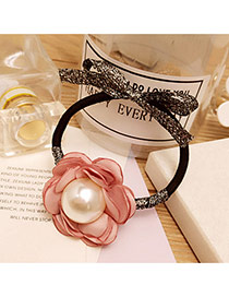 Fashion Pink Big Pearl Decorated Flower Shape Design Simple Hair Band