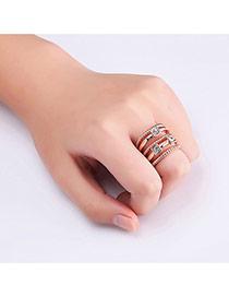 Elegant Rose Gold Round Shape Diamond Decorated Multi-layer Ring