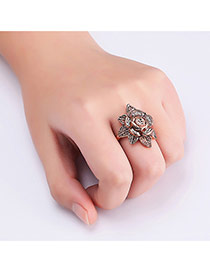 Fashion Rose Gold Diamond Decorated Flower Shape Design Ring