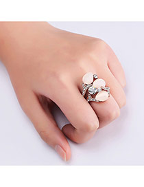 Fashion Rose Gold Water Drop Shape Diamond Decorated Hollow Out Simple Ring