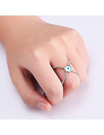 Fashion Silver Color Round Shape Diamond Decorated Cross Design Ring
