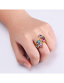 Fashion Gold Color Round Shape Diamond Decorated Color Matching Ring