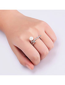 Fashion Silver Color Pearl&diamond Decorated Irregular Shape Pure Color Ring