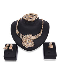 Fashion Gold Color Pure Color Decorated Hollow Out Design Jewelry Sets (4pcs)