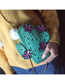 Fashion Green Flowers Decorated Cactus Shape Color Matching Shoulder Bag Reviews