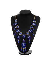 Fashion Sapphire Blue Water Drop Shape Diamond Decorated Flower Design Necklace