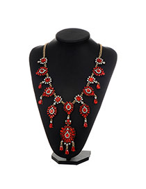 Fashion Red Water Drop Shape Diamond Decorated Flower Design Necklace