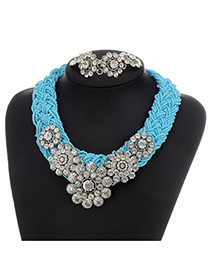 Fashion Blue Flower Decorated Color Matching Collar Jewelry Sets