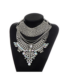 Fashion Silver Color Geometric Shape Diamond Decorated Double Layer Necklace