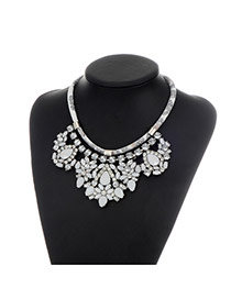 Fashion White Water Drop Shape Diamond Decorated Pure Color Necklace