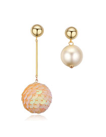 Fashion Champagne Ball Shape&pearl Pendant Decorated Asymmetrical Design Earrings
