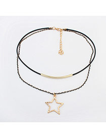 Fashion Black+gold Color Hollow Out Star Pendant Decorated Double Layer Bracelet