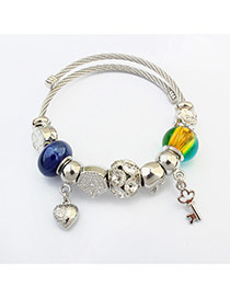 Fashion Multi-color Key Shape&heart Pendant Decorated Color Matching Bracelet
