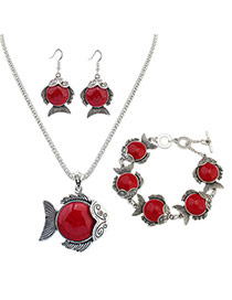 Personality Red Metal Fish Pendant Decorated Simple Long Chain Jewelry Sets