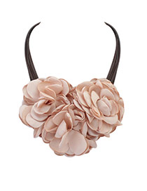 Bohemia Beige Pure Color There Flower Decorated Multilayer Necklace