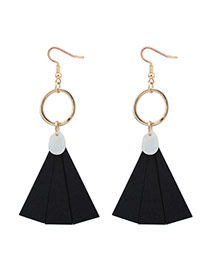Bohemia Black Fan Shape Pendant Decorated Simple Earrings