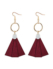 Bohemia Red Fan Shape Pendant Decorated Simple Earrings