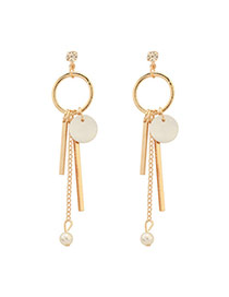 Fashion Gold Color Round Shape Decorated Simple Long Tassel Earrings