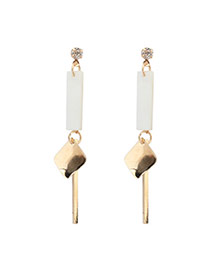 Fashion White Geometric Shape Decorated Simple Long Chain Earrings