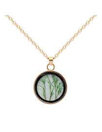 Fashion Green Grass Decorated Simple Long Chain Necklace