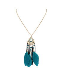 Bohemia Blue Feather Decorated Simple Tassel Long Chain Necklace