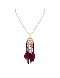 Bohemia Claret-red Feather Decorated Simple Tassel Long Chain Necklace