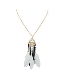 Bohemia White Feather Decorated Simple Tassel Long Chain Necklace
