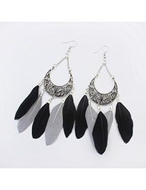 Elegant Black+white Feather Tassel Pendant Decorated Simple Earring