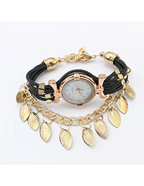 Sweet Black Leaf Tassel Pendant Decorated Multilayer Watch