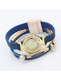 Fashion Blue Double Diamond Decorated Multilayer Watch