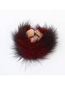 Sweet Red Hairy Decorated Pure Color Opening Ring