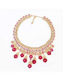 Fashion Plum Red Square Shape Diamond Decorated Multi-layer Necklace
