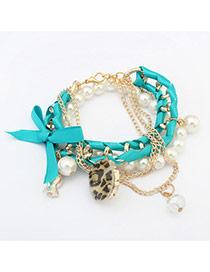 Fashion Blue Iron Tower&pearls Pendant Decorated Multi-layer Bracelet