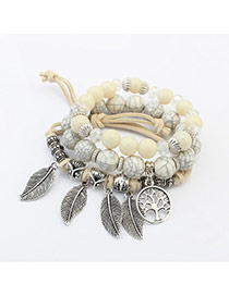 Bohemia Beige Metal Leaf Pendant Decorated Simple Multilyer Bracelet