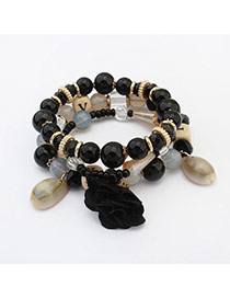 Bohemia Black Flower&shell Pendant Decorated Simple Multilayer Bracelet