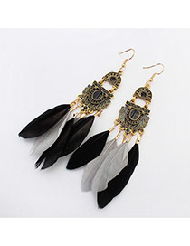 Bohemia Black+gray Color-macthing Design Feather Pendant Decorated Simple Earrings