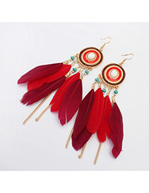 Bohemia Red Metal Round Shape Decorated Feather Simple Earrings