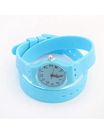 Elegant Blue+green Pure Color Decorated Double Layer Simple Watch