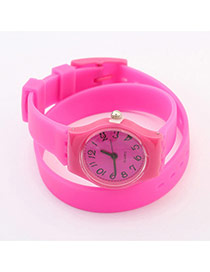 Elegant Plum Red Pure Color Decorated Double Layer Simple Watch