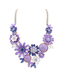 Fashion Purple Flowers Decorated Color Matching Simple Necklace